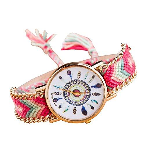 Damen ethnisch Blume Muster gestrickt gewebte Seil Band Armband Armbanduhr