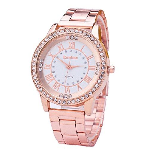 Frauen Mode goldene Uhr Minimalist Armbanduhr Edelstahl