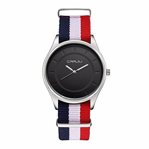 Damen Herren analog Quartz Nylon Armbanduhr Schwarz 3ATM Farbe 5