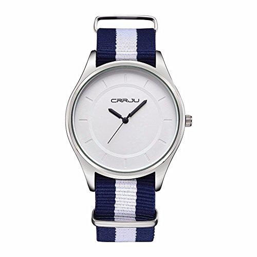 Damen Herren analog Quartz Nylon Armbanduhr Weiss 3ATM Farbe 3