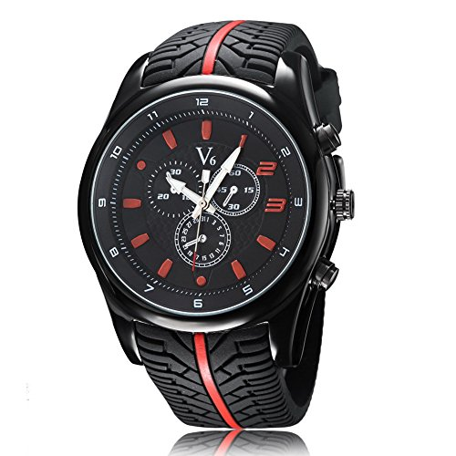 Damen Herren Mode analog Quarz Sport Silikon Laufflaechengestaltung Band Armbanduhr 5ATM