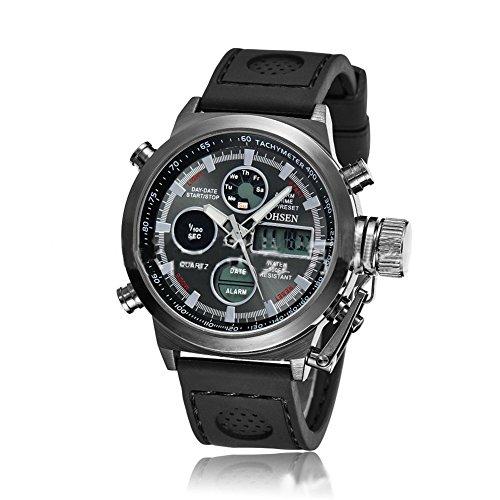 Herren Quarz Sport Armbanduhr AD1601 Gummi 3ATM wasserdicht Schwarz