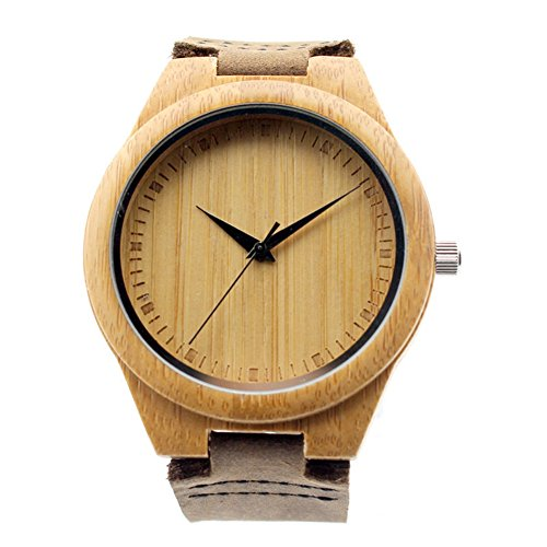 Herren echtes Leder Bambus Holz Uhren Braun