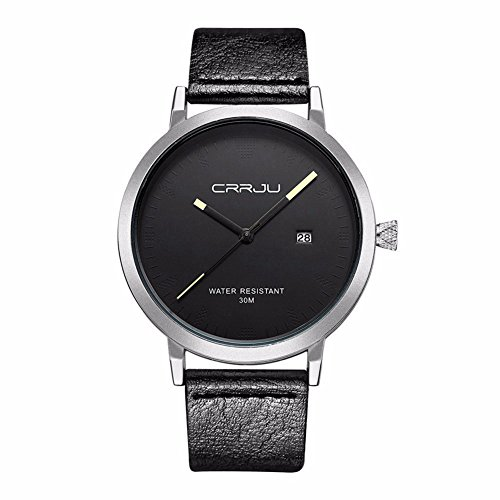 Herren analog Quartz einfache Leder Armbanduhr 3ATM mit Datum Kalender Silbrig Schwarz