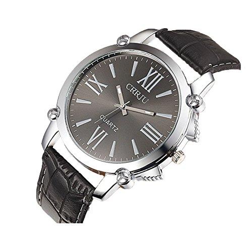 Herren Roemische Ziffer analog Quartz PU Armbanduhr CJ001 Schwarz