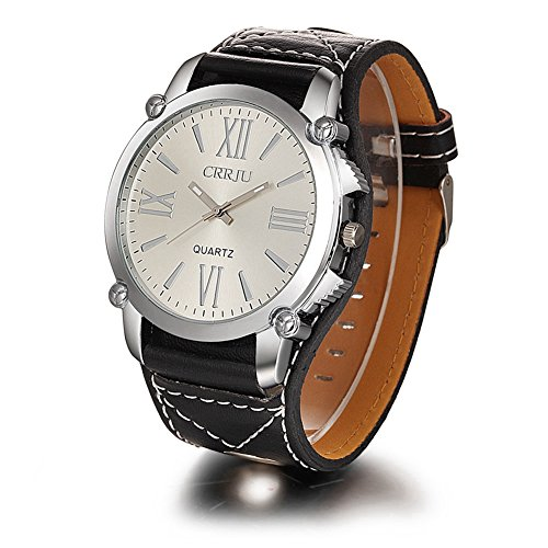 Damen Herren Roemische Ziffer analog Quartz PU Armbanduhr CJ001 Schwarz Weiss