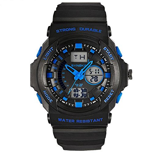 Multifunktion 5ATM Doppelzeit Digital Analog Hintergrundbeleuchtung Armbanduhren Blau