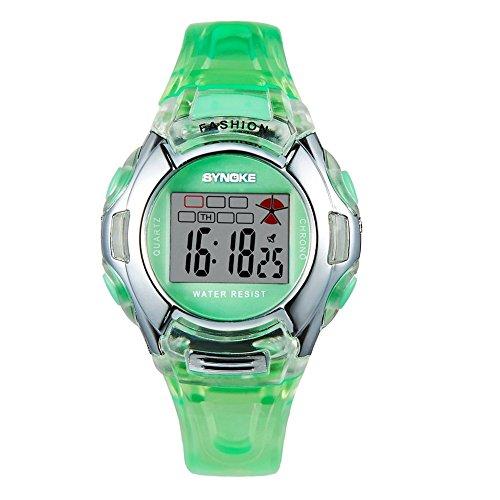 Multifunktion Kindersportuhr 3ATM Hintergrundbeleuchtung Digital Studenten Armbanduhren Gruen