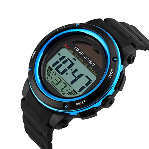 Multifunktions Sport Armbanduhr 50M wasserdicht digital LED Hintergrundbeleuchtung blau