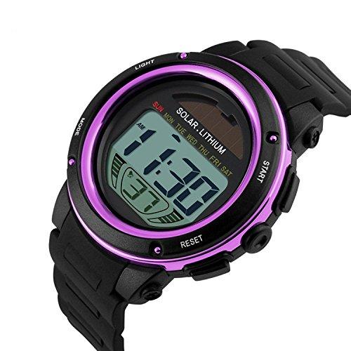 Multifunktions Sport Armbanduhr 50M wasserdicht digital LED Hintergrundbeleuchtung lila
