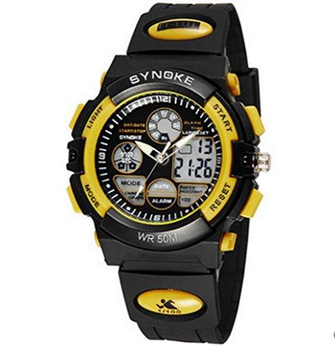 Kinder Multifunktions Sportuhr 5ATM Doppelzeit Digital Analog Hintergrundbeleuchtung Armbanduhr Gelb