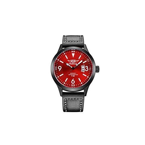 Onelong F88 Herren analog Quarz Leder Armbanduhr 3ATM Wasserdicht Fashion Uhr mit Datum Kalender Rot