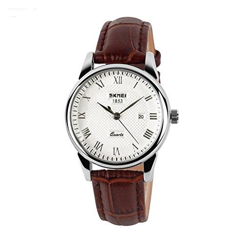 Damen Leder Schwarz Armbanduhren mit Datum Kalender silbrig silbriges Zifferblatt und brauner Band
