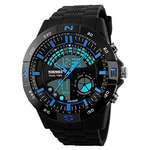 XY Fancy Herren analog digital Sportuhr Multifunktion Alarm Doppelzeit LED Licht 5ATM 51M wasserdicht Blau