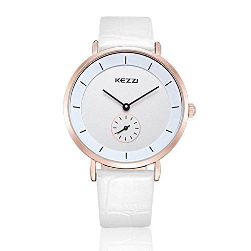 XY Fancy Damen Herren casual Armbanduhr analog Quarzwerk PU Band Uhr Paar Armbanduhren 1080 Weiss Herren