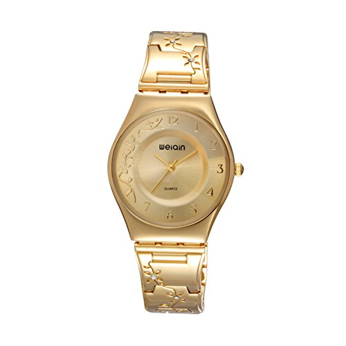 XY Fancy Damen Luxus Elegant schlank Blumen Rebe Armbanduhr Gold