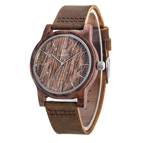 XY Fancy Herren Holz Leder Band Sandelholz Uhr Geschenk Walnuss Holz