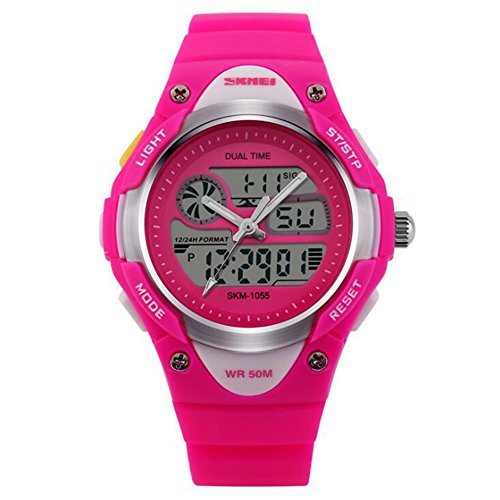 XY Fancy 5ATM wasserdicht Dual Time Digital Analog Hintergrundbeleuchtung Sportuhr Rose Rot
