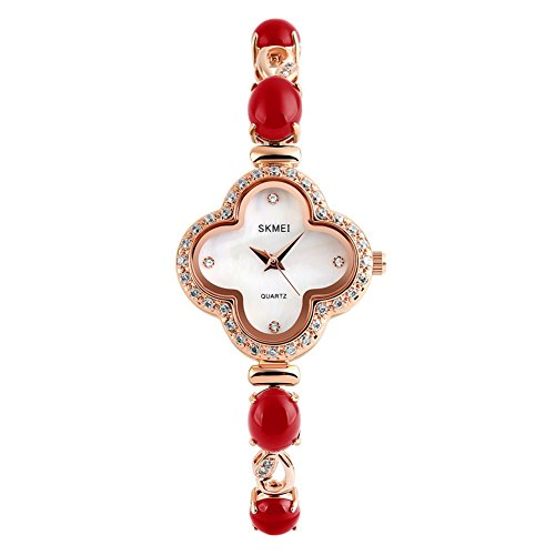 XY Fancy Damen mode elegant Klee Strass Kristall analog Rot