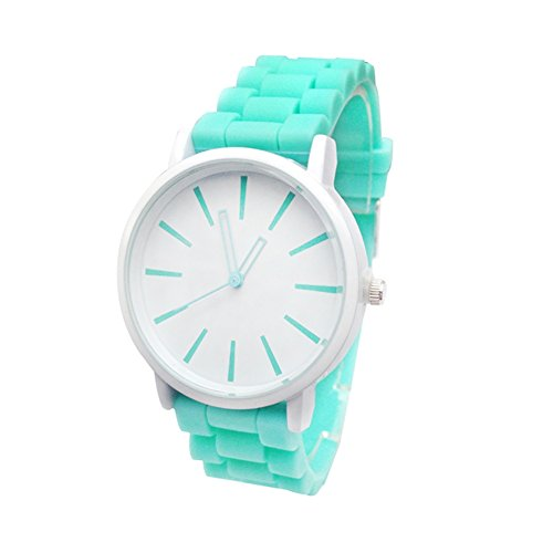 XY Fancy Damen Maedchen analog Uhr Silikon Band suesse Armbanduhr Mint Gruen