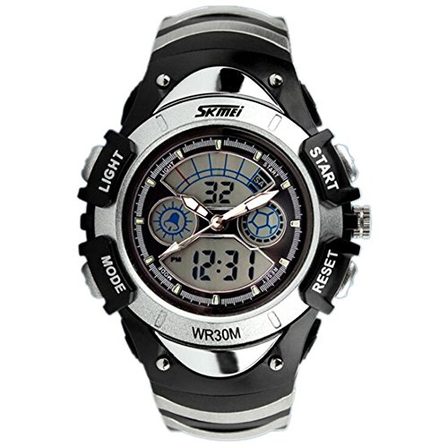 XY Fancy Multifunktionale Kinder Sport Armbanduhr 9 ATM wasserdicht Dual Time Digital Analog Hintergrundbeleuchtung Uhr Silber