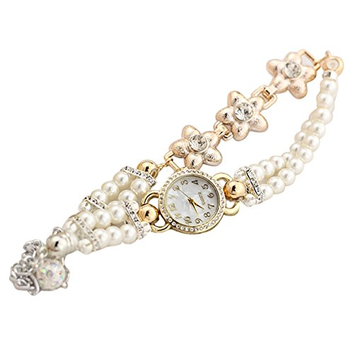 XY Fancy Damen Luxus suess Mode Perlen Blumen Kette Armband Analog Quartz Armbanduhr Weiss
