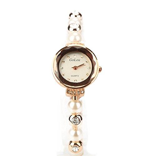 XY Fancy Damen elegante Wasserdichte analog Perle Armband Gold Weiss