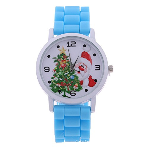 XY Fancy Kinder Weihnachten Armbanduhr Santa Claus Weihnachtsmann Uhr Weihnachten Geschenk Silkon Band Uhr Blau