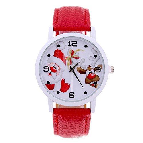 XY Fancy Kinder Weihnachten Armbanduhr Santa Claus und Elch Weihnachtsmann Uhr Weihnachten Geschenk PU Leder Band Uhr Rot