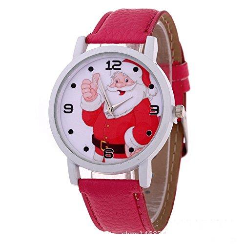 XY Fancy Kinder Weihnachten Armbanduhr Santa Claus Weihnachtsmann Uhr Weihnachten Geschenk PU Leder Band Uhr Rot