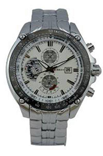 Curren Maenner analog Calenda Edelstahl Armbanduhr mit 3 Zifferblaetter fuer Dekoration WTH0254