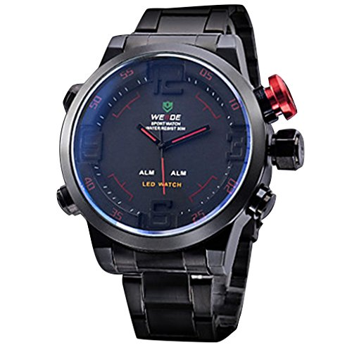 YPS Maenner Analog Digital Multifunktions Schwarzes Zifferblatt Stahlband Armbanduhr WTH1035