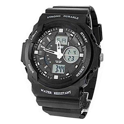 YPS Maenner analog digitale Multifunktionsgummiband Sport Armbanduhr schwarz WTH2614