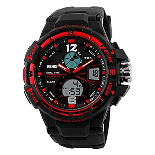 YPS Herren Anzeige zweier Zeit Analog Digital Warnungs Stoppuhr Sport Armbanduhr Rot WTH3322