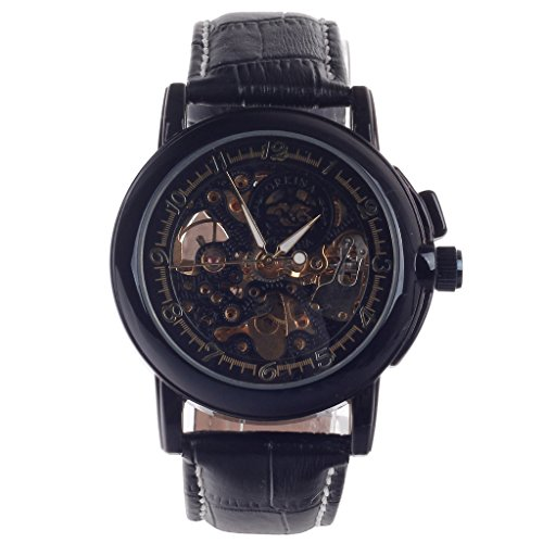 YPS Herren Beidseitig Hohl Stil automatische mechanische Armbanduhr Schwarz Golden WTH6025