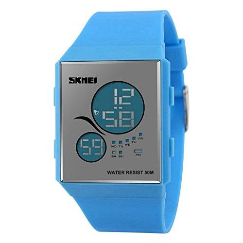 YPS beilaeufige Art und Weise Digital LED Anzeige fuer Frauen und Maenner Sport Armbanduhr Blau WTH3439