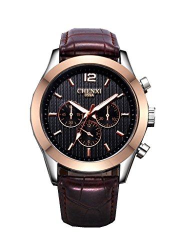 YPS beruehmte Marke Mens Top Marke Luxury Business Quarz lederner Buegel Armbanduhr Schwarz WTH3480