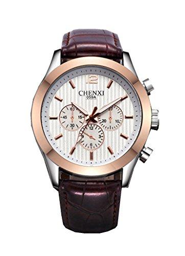 YPS beruehmte Marke Mens Top Marke Luxury Business Quarz lederner Buegel Armbanduhr Weiss WTH3479