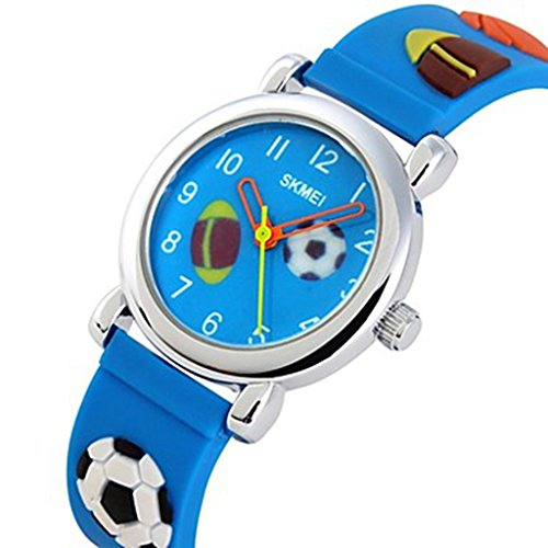YPS Kinder Cartoon 3D Pattenr Silikon Band Quarz Armbanduhr Marine Blau WTH0948