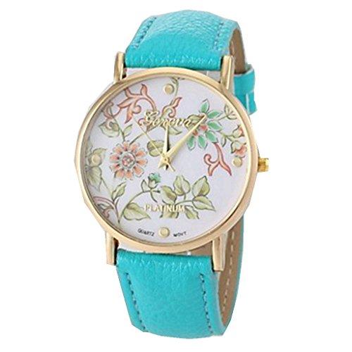 YPS Damenmode Art Blumen Muster PU Band blau WTH0897