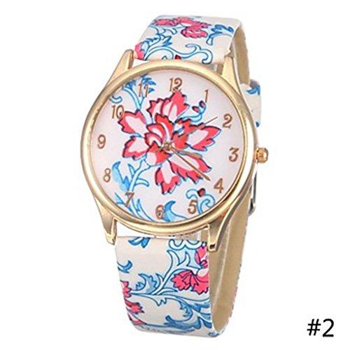 YPS Damenmode Blue White Porzellan Muster PU Band Quarz Armbanduhr blau WTH0878