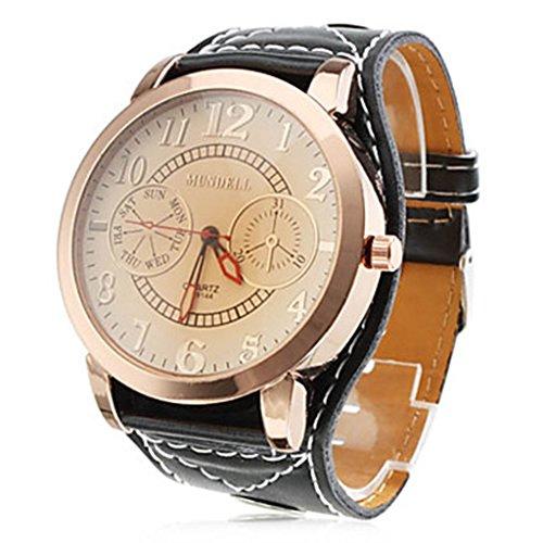 YPS Damenmode grosse Zifferblatt PU Band Armbanduhr schwarz WTH8035