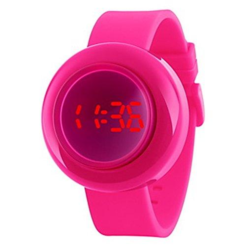 YPS Unisex Push Button Design LED Digital Silikon Armbanduhr Rosen Rot WTH3318
