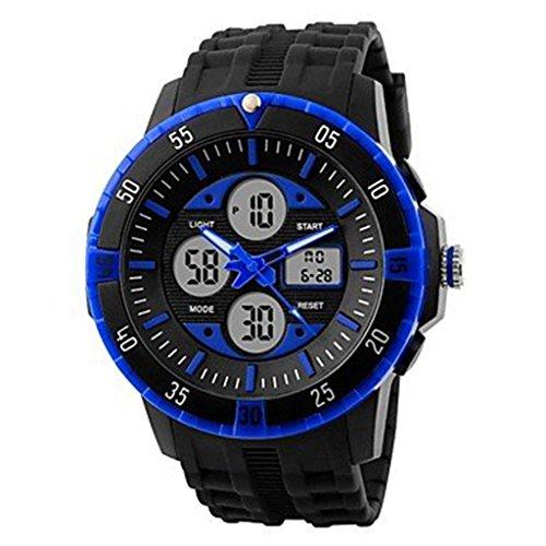 YPS Herren Tough Design Multifunktions Analog Digital Gummiband Sportliche Armbanduhr blau WTH2800