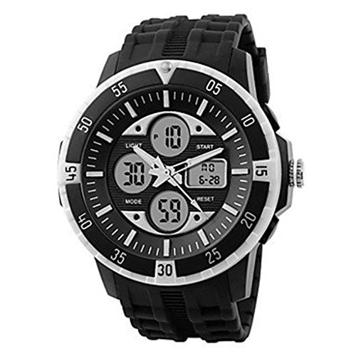 YPS Herren Tough Design Multifunktions Analog Digital Gummiband Sportliche Armbanduhr weiss WTH2803