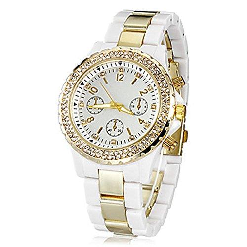 YPS Frauen Diamante Gold Zifferblatt Kunststoff Band Quarz analoge Armbanduhr Gold WTH0827