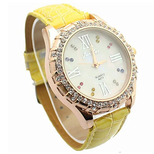 YPS Frauen Diamante weissen Zifferblatt PU Band Quarz analoge Armbanduhr Gelb WTH 8005