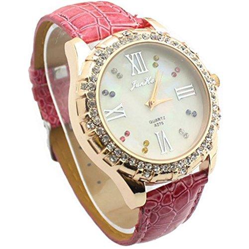YPS Frauen Diamante weissen Zifferblatt PU Band Quarz analoge Armbanduhr Rosa WTH8004