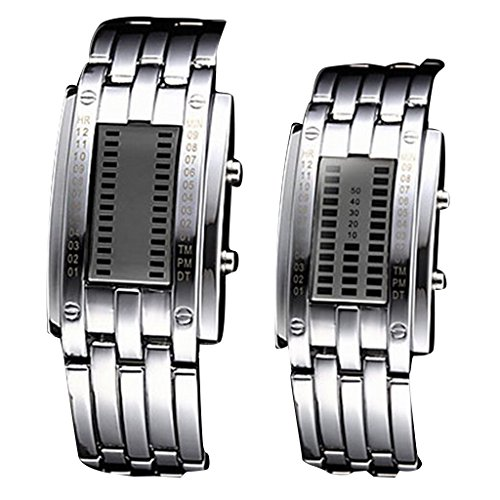 YPS Paar Blue LED Digital Rechteck Zifferblatt Steel Band Armbanduhr Silber WTH2647