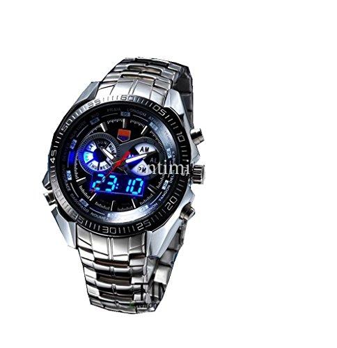 YPS Edelstahl schwarzen Maenner Clock Mode blaue Zweiheit LED Zeiger Armbanduhr WTH8281